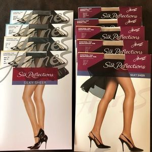 Lot of 9 Hanes Silk Reflection Pantyhose